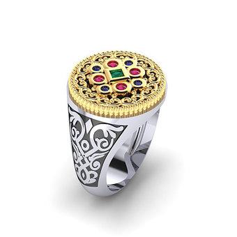 Αρχαϊκό Δαχτυλίδι Σεβαλιέ 16 / Ασημένιο, χειροποίητο, δίχρωμο, λευκό κίτρινο, με ροζέτα ανθέμιο και χρωματιστές συνθετικές πέτρες