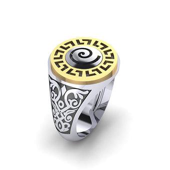 Αρχαϊκό Δαχτυλίδι Σεβαλιέ 15 / Ασημένιο, χειροποίητο, δίχρωμο, λευκό κίτρινο, με μαίανδρο και ένθετη σπείρα