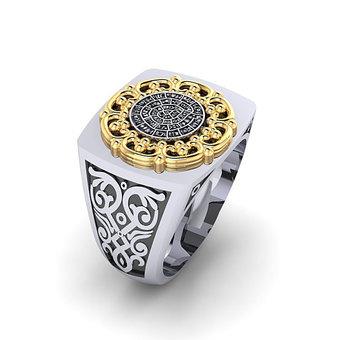 Αρχαϊκό Δαχτυλίδι Σεβαλιέ 1 / Ασημένιο, χειροποίητο, δίχρωμο, λευκό κίτρινο, με ένθετο το δίσκο τής Φαιστού