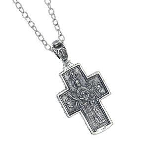 Ορθόδοξος Ρώσικος Σταυρός Ευλογίας 1420 με τον Ιησού Χριστό Εσταυρωμένο / Ασημένιος, χειροποίητος, διπλής όψεως με αλυσίδα / πίσω όψη