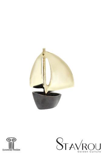 διακοσμητικό δώρο γραφείου - σπιτιού, από ορείχαλκο, βάρκα με πανιά / 2ΚΡ0003 logo