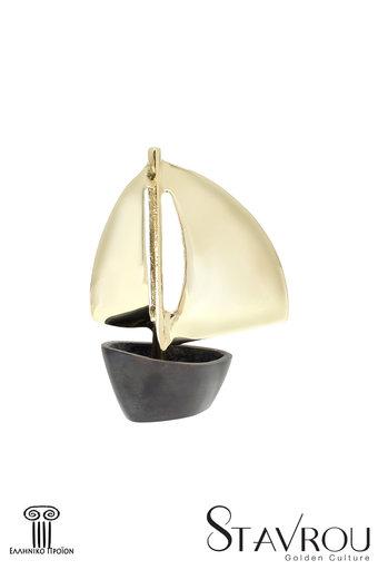 διακοσμητικό δώρο γραφείου - σπιτιού, από ορείχαλκο, βάρκα με πανιά / 2ΚΡ0004 logo
