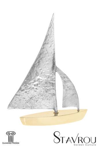διακοσμητικό δώρο γραφείου - σπιτιού, από ορείχαλκο και ανακυκλωμένο αλουμίνιο, ιστιοφόρο με πανιά / 2ΚΡ0010 logo