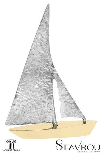 διακοσμητικό δώρο γραφείου - σπιτιού, από ορείχαλκο και ανακυκλωμένο αλουμίνιο, ιστιοφόρο με πανιά / 2ΚΡ0011 logo