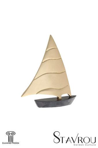 διακοσμητικό δώρο γραφείου - σπιτιού, από ορείχαλκο, ιστιοφόρο με πανί / 2ΚΡ0012 logo