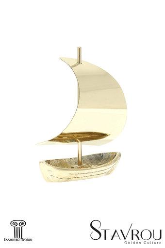 διακοσμητικό δώρο γραφείου - σπιτιού, από ορείχαλκο, βάρκα με πανί / 2ΚΡ0019 logo