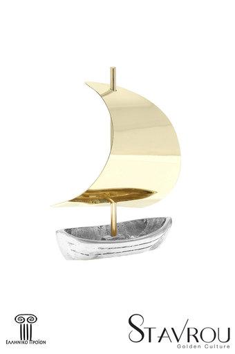 διακοσμητικό δώρο γραφείου- σπιτιού, από ορείχαλκο και ανακυκλωμένο αλουμίνιο, σε ρεαλιστική γραμμή γλυπτού, βάρκα με πανί / 2ΚΡ0022 logo
