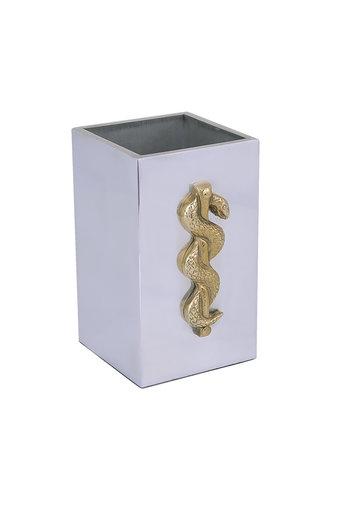 Διακοσμητικό Δώρο Γραφείου Μολυβοθήκη με ιατρόσημο, χειροποίητη, από ανακυκλώμενο αλουμίνιο και ορίχαλκο / 2ΜΛ0001