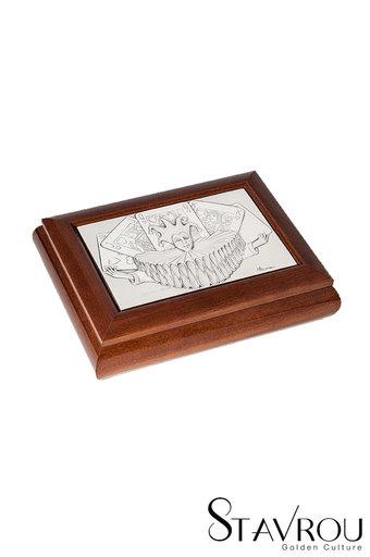 διακοσμητικό σπιτιού, ξύλινο κουτί για τράπουλες, με ασημένια παράσταση τού τζόκερ / 2ΚΤ0032 logo
