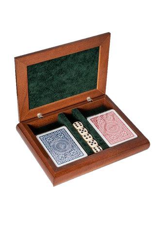 διακοσμητικό σπιτιού, ξύλινο κουτί για τράπουλες, με ασημένια παράσταση τού τζόκερ / 2ΚΤ0032 - εσωτερική όψη