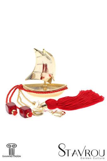 διακοσμητικό δώρο γραφείου - σπιτιού, από ορείχαλκο, βάρκα με πανιά, άγκυρα και σταυρό / 2ΔΙ0326 logo