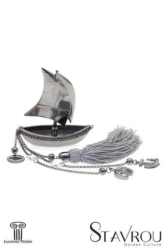 διακοσμητικό δώρο γραφείου - σπιτιού, από ορείχαλκο, βάρκα με πανιά, άγκυρα και σταυρό / 2ΔΙ0330 logo