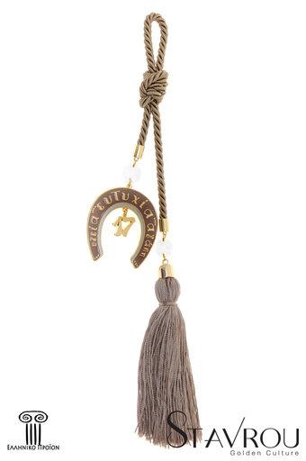 διακοσμητικό δώρο για το σπίτι και το γραφείο, πέταλο με ευχές, κατασκευασμένο από ορείχαλκο και δεμένο με κορδόνι και φούντα / 2ΔΙ0337 logo
