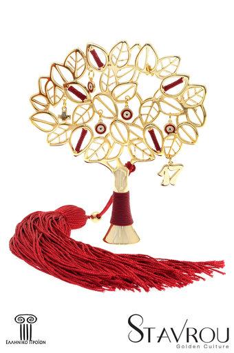 διακοσμητικό δώρο για το σπίτι και το γραφείο, μεγάλη ροδιά με κόκκινα ματάκια, κατασκευασμένη από ορείχαλκο με κόκκινο κορδόνι και φούντα / 2ΔΙ0335 logo