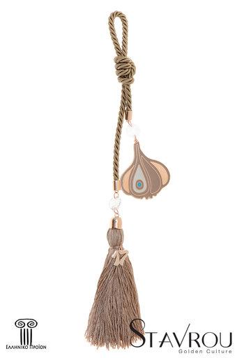 διακοσμητικό δώρο για το σπίτι και το γραφείο, σκόρδο με μάτι, κατασκευασμένο από ορείχαλκο και δεμένο με κορδόνι και φούντα / 2ΔΙ0333 logo