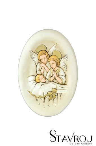 κεραμική εικόνα, ανάγλυφη, με νωπογραφία, Άγγελοι - Βρέφος / 2ΕΙ0184 logo