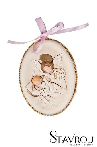 κεραμική εικόνα, ανάγλυφη, με νωπογραφία, Άγγελος - Βρέφος / 2ΕΙ0179 R logo