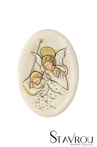 κεραμική εικόνα, ανάγλυφη, με νωπογραφία, Άγγελος - Βρέφος / 2ΕΙ0183 logo