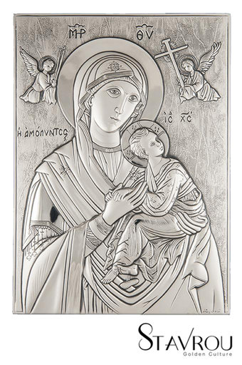 θρησκευτική ορθόδοξη εικόνα πίστης Παναγία Αμόλυντος, ανάγλυφη, σε ασήμι 925' / 2ΕΙ0150 logo / 200 x 280 mm