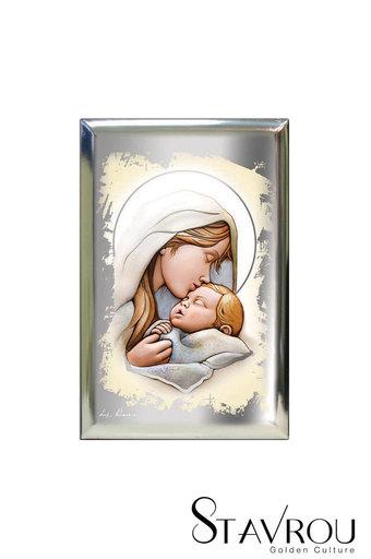 επάργυρη θρησκευτική εικόνα πίστης, Παναγία Γλυκοφιλούσα / 2ΕΙ0192 logo / 100 x 150 mm