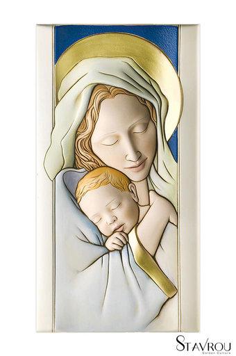 κεραμική εικόνα, ανάγλυφη με νωπογραφία,'Παναγία Βρεφοκρατούσα / 2ΕΙ0200 logo / 160 x 300 mm