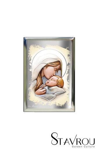 επάργυρη θρησκευτική εικόνα πίστης, Παναγία Γλυκοφιλούσα, / 2ΕΙ0206 logo / 70 x 100 mm