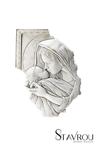 θρησκευτική εικόνα, κεραμική ανάγλυφη με νωπογραφία, Παναγία Γλυκοφιλούσα / 2ΕΙ0214 logo / 290 x 420 mm