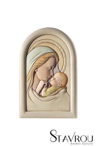 κεραμική εικόνα, ανάγλυφη με νωπογραφία, Παναγία Γλυκοφιλούσα / ΕΙ0217 logo / 120 x 180 mm