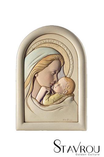 κεραμική εικόνα, ανάγλυφη με νωπογραφία, Παναγία Γλυκοφιλούσα / 2ΕΙ0218 logo / 160 x 230 mm
