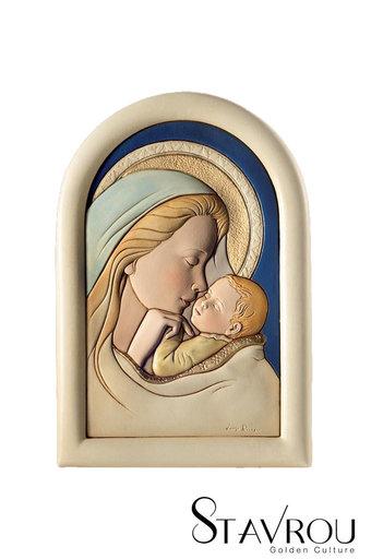 κεραμική εικόνα, ανάγλυφη με νωπογραφία, Παναγία Γλυκοφιλούσα / 2ΕΙ0219 logo / 160 x 230 mm