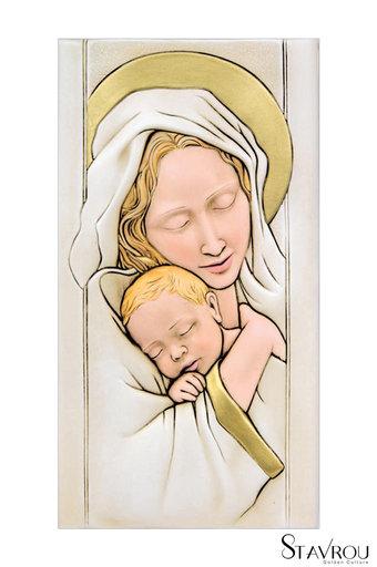 κεραμική εικόνα, ανάγλυφη με νωπογραφία, Παναγία Βρεφοκρατούσα / 2ΕΙ0220 logo / 160 x 300 mm