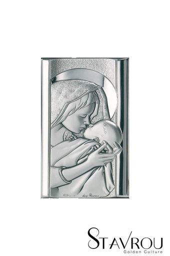 θρησκευτική καθολική εικόνα πίστης Παναγία Γλυκοφιλούσα, ανάγλυφη, σε ασήμι 925' / 2ΕΙ0253 logo / 70 x 120 mm