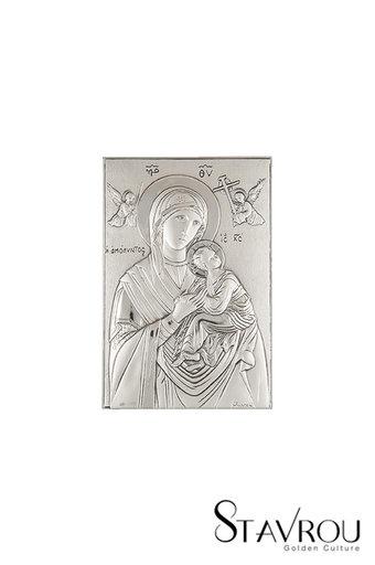 θρησκευτική ορθόδοξη εικόνα πίστης Παναγία Αμόλυντος, ανάγλυφη, σε ασήμι 925' / 2ΕΙ0254 logo / 100 x 150 mm