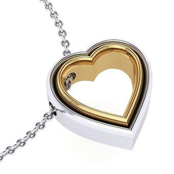 Μενταγιόν Δίδυμες Καρδιές 1 / Ασημένιο, χειροποίητο / λευκό - κίτρινο