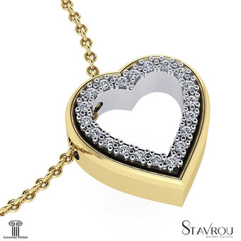 Μενταγιόν Δίδυμες Καρδιές 3 / Ασημένιο, χειροποίητο / κίτρινο - λευκό με συνθετικές πέτρες