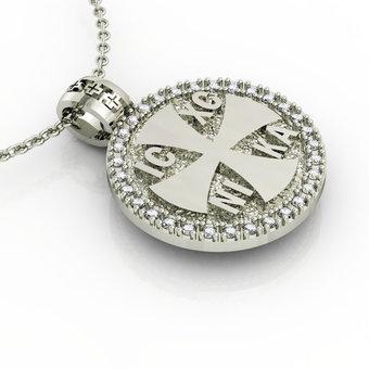 Θρησκευτικό Μενταγιόν Κωνσταντινάτο 1 / Ασημένιο, χειροποίητο, λευκό επιπλατινωμένο με ζιργκόν / μπροστινή όψη με σταυρό και το Ιησούς Χριστός Νικά