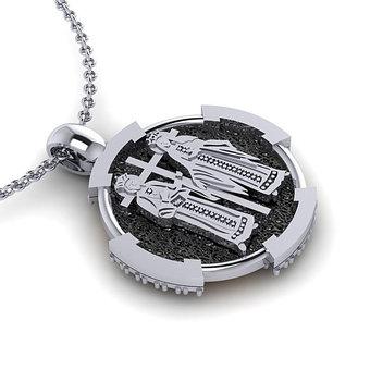 Θρησκευτικό Μενταγιόν Κωνσταντινάτο 10 / Ασημένιο, χειροποίητο, δίχρωμο με πατίνα / πίσω όψη με τους Αγίους Κωνσταντίνο και Ελένη