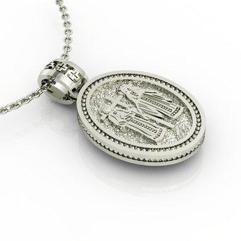 Θρησκευτικό Μενταγιόν Κωνσταντινάτο 15 / Ασημένιο, χειροποίητο, λευκό επιπλατινωμένο / πίσω όψη με τους Αγίους Κωνσταντίνο και Ελένη