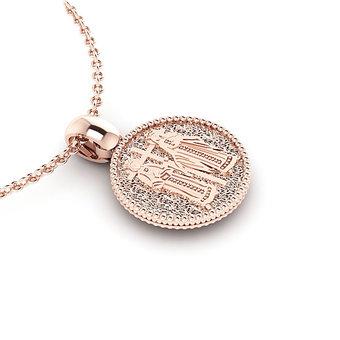 Θρησκευτικό Μενταγιόν Κωνσταντινάτο 18 / Ασημένιο, χειροποίητο, ροζ επιχρυσωμένο / πίσω όψη με τους Αγίους Κωνσταντίνο και Ελένη