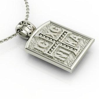Θρησκευτικό Μενταγιόν Κωνσταντινάτο 4 / Ασημένιο, χειροποίητο, λευκό επιπλατινωμένο / μπροστινή όψη με το Ιησούς Χριστός Νικά