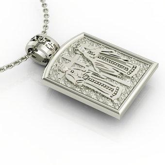 Θρησκευτικό Μενταγιόν Κωνσταντινάτο 4 / Ασημένιο, χειροποίητο, λευκό επιπλατινωμένο / πίσω όψη με τους Αγίους Κωνσταντίνο και Ελένη