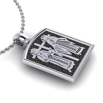 Θρησκευτικό Μενταγιόν Κωνσταντινάτο 4 / Ασημένιο, χειροποίητο, δίχρωμο με πατίνα / πίσω όψη με τους Αγίους Κωνσταντίνο και Ελένη