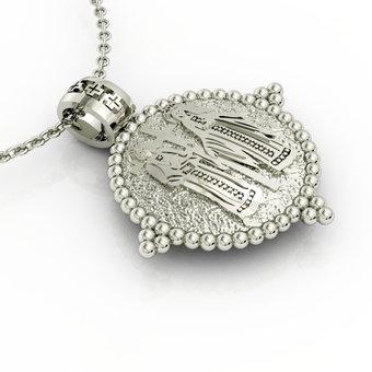 Θρησκευτικό Μενταγιόν Κωνσταντινάτο 5 / Ασημένιο, χειροποίητο, λευκό επιπλατινωμένο / πίσω όψη με τους Αγίους Κωνσταντίνου και Ελένης