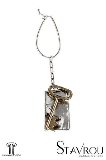 μπρελόκ - κλειδοθήκη, χειροποίητο, ασημένιο, δίχρωμο, με παράσταση κλειδί / 2ΜΡ0058 logo