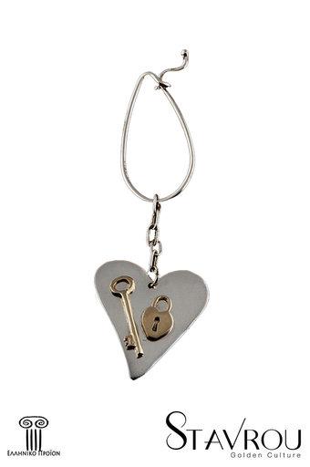 μπρελόκ - κλειδοθήκη, χειροποίητο, ασημένιο, δίχρωμο, με θέμα καρδιά - κλειδί -λουκέτο / 2ΜΡ0060 logo