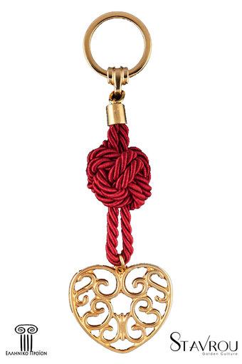 μπρελόκ - κλειδοθήκη από ορείχαλκο, σε σχέδιο ''καρδιά λαχούρι'' / 2ΜΡ0062 logo