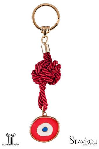 μπρελόκ - κλειδοθήκη από ορείχαλκο, ''μάτι με κόκκινο λευκό και μπλε σμάλτο'' / 2ΜΡ0063 logo