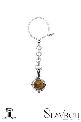 μπρελόκ - κλειδοθήκη, χειροποίητο, ασημένιο, με μάτι τής τίγρης / 2ΜΡ0071 logo