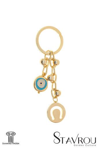 Μπρελόκ - Κλειδοθήκη με πέταλο και μάτι, κατασκευασμένο από ορείχαλκο / 2ΜΡ0082 logo