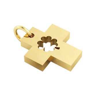 Σταυρός με Τετράφυλλο / Ασημένιος, χειροποίητος, κίτρινος επιχρυσωμένος